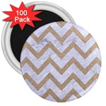 CHEVRON9 WHITE MARBLE & SAND (R) 3  Magnets (100 pack) Front