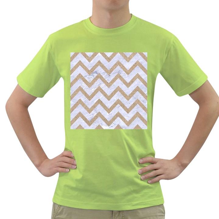 CHEVRON9 WHITE MARBLE & SAND (R) Green T-Shirt