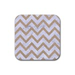 CHEVRON9 WHITE MARBLE & SAND (R) Rubber Square Coaster (4 pack)  Front