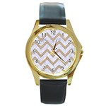 CHEVRON9 WHITE MARBLE & SAND (R) Round Gold Metal Watch Front