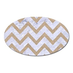 Chevron9 White Marble & Sand (r) Oval Magnet