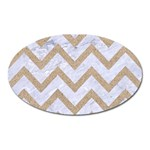 CHEVRON9 WHITE MARBLE & SAND (R) Oval Magnet Front