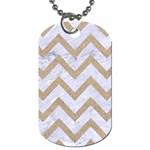 CHEVRON9 WHITE MARBLE & SAND (R) Dog Tag (One Side) Front
