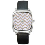 CHEVRON9 WHITE MARBLE & SAND (R) Square Metal Watch Front