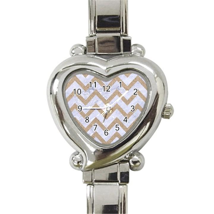 CHEVRON9 WHITE MARBLE & SAND (R) Heart Italian Charm Watch