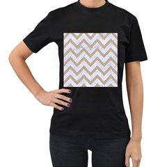 Chevron9 White Marble & Sand (r) Women s T Shirt (black) (two Sided)
