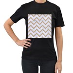 CHEVRON9 WHITE MARBLE & SAND (R) Women s T-Shirt (Black) (Two Sided) Front