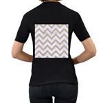 CHEVRON9 WHITE MARBLE & SAND (R) Women s T-Shirt (Black) (Two Sided) Back