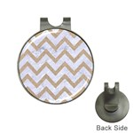 CHEVRON9 WHITE MARBLE & SAND (R) Hat Clips with Golf Markers Front