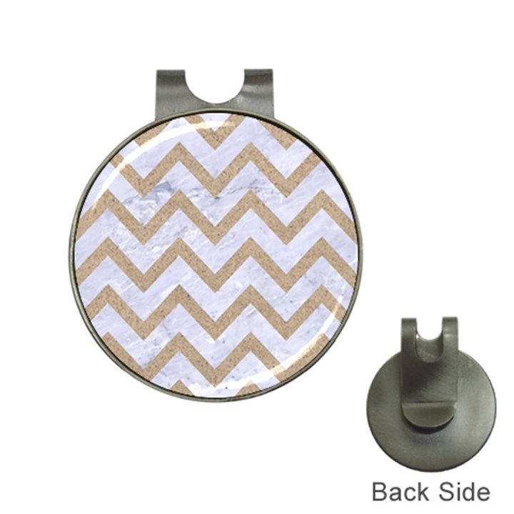 CHEVRON9 WHITE MARBLE & SAND (R) Hat Clips with Golf Markers