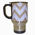 CHEVRON9 WHITE MARBLE & SAND (R) Travel Mugs (White) Left
