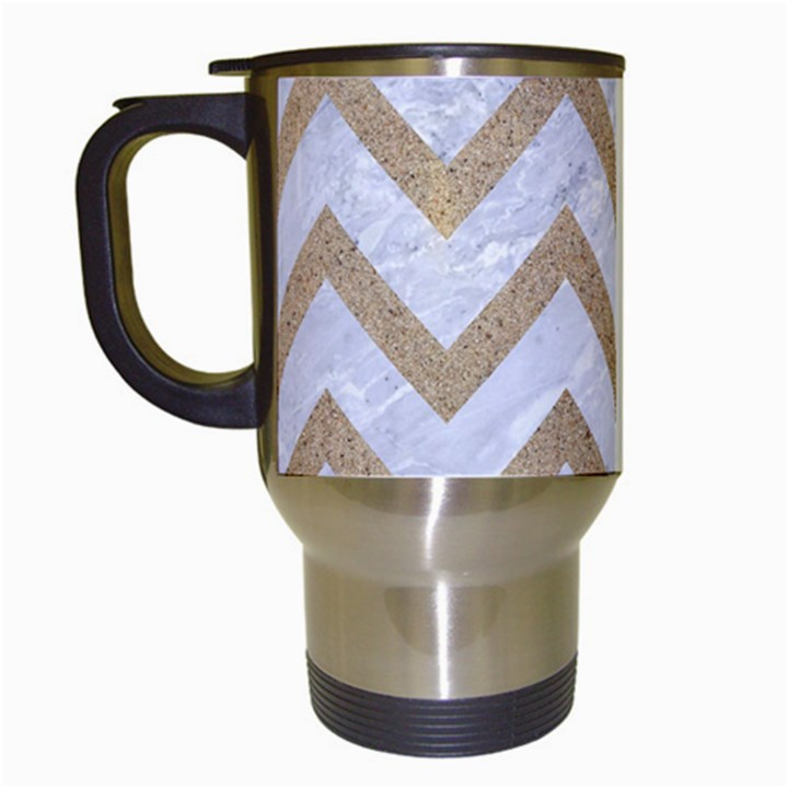 CHEVRON9 WHITE MARBLE & SAND (R) Travel Mugs (White)