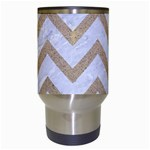 CHEVRON9 WHITE MARBLE & SAND (R) Travel Mugs (White) Center
