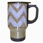 CHEVRON9 WHITE MARBLE & SAND (R) Travel Mugs (White) Right