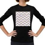 CHEVRON9 WHITE MARBLE & SAND (R) Women s Long Sleeve Dark T-Shirts Front
