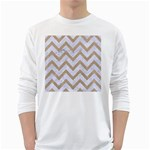 CHEVRON9 WHITE MARBLE & SAND (R) White Long Sleeve T-Shirts Front