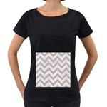 CHEVRON9 WHITE MARBLE & SAND (R) Women s Loose-Fit T-Shirt (Black) Front