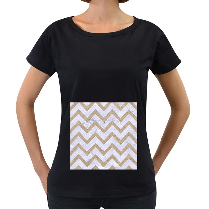 CHEVRON9 WHITE MARBLE & SAND (R) Women s Loose-Fit T-Shirt (Black)