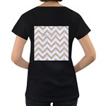 CHEVRON9 WHITE MARBLE & SAND (R) Women s Loose-Fit T-Shirt (Black) Back