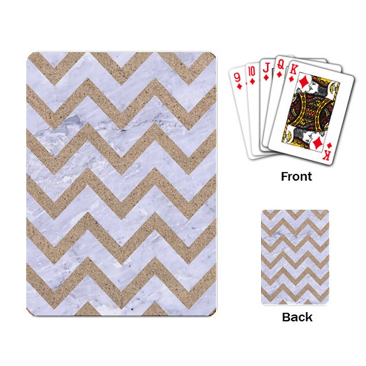CHEVRON9 WHITE MARBLE & SAND (R) Playing Card