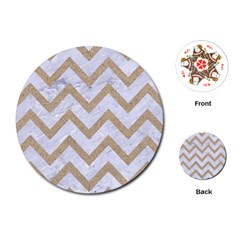 Chevron9 White Marble & Sand (r) Playing Cards (round)