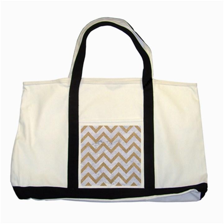 CHEVRON9 WHITE MARBLE & SAND (R) Two Tone Tote Bag
