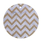 CHEVRON9 WHITE MARBLE & SAND (R) Round Ornament (Two Sides) Back