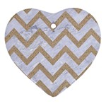 CHEVRON9 WHITE MARBLE & SAND (R) Heart Ornament (Two Sides) Front