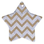 CHEVRON9 WHITE MARBLE & SAND (R) Star Ornament (Two Sides) Front