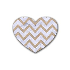 Chevron9 White Marble & Sand (r) Rubber Coaster (heart)