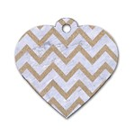 CHEVRON9 WHITE MARBLE & SAND (R) Dog Tag Heart (One Side) Front