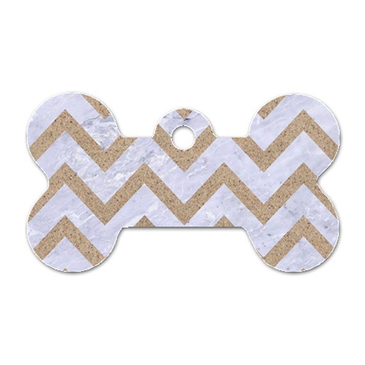 CHEVRON9 WHITE MARBLE & SAND (R) Dog Tag Bone (Two Sides)