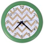 CHEVRON9 WHITE MARBLE & SAND (R) Color Wall Clocks Front