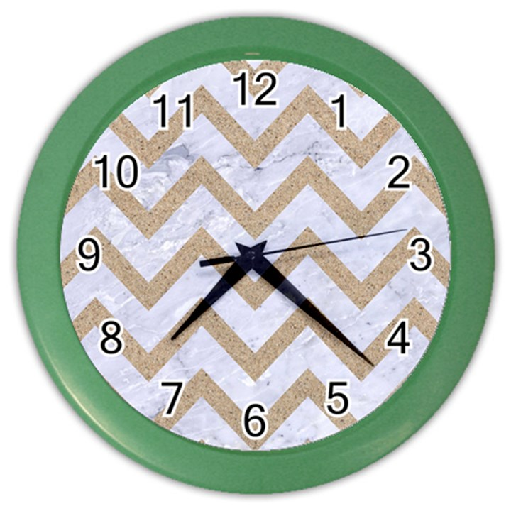 CHEVRON9 WHITE MARBLE & SAND (R) Color Wall Clocks