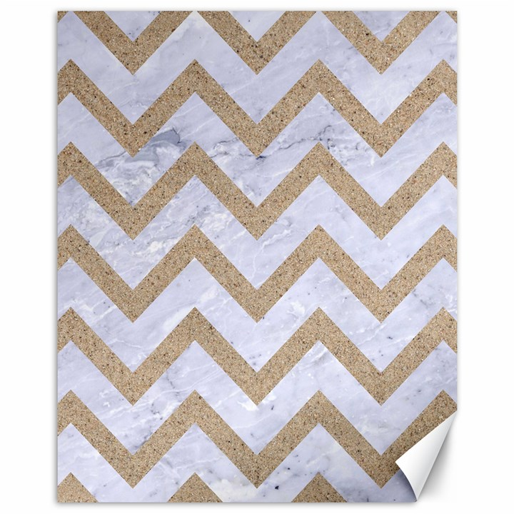 CHEVRON9 WHITE MARBLE & SAND (R) Canvas 11  x 14