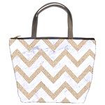 CHEVRON9 WHITE MARBLE & SAND (R) Bucket Bags Front