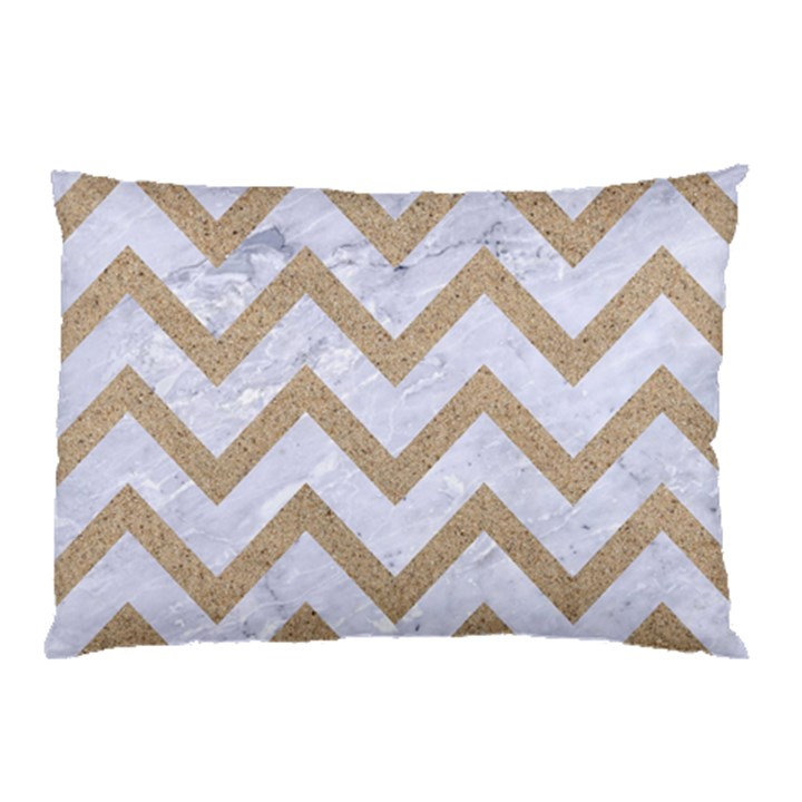 CHEVRON9 WHITE MARBLE & SAND (R) Pillow Case