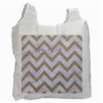 CHEVRON9 WHITE MARBLE & SAND (R) Recycle Bag (Two Side)  Front