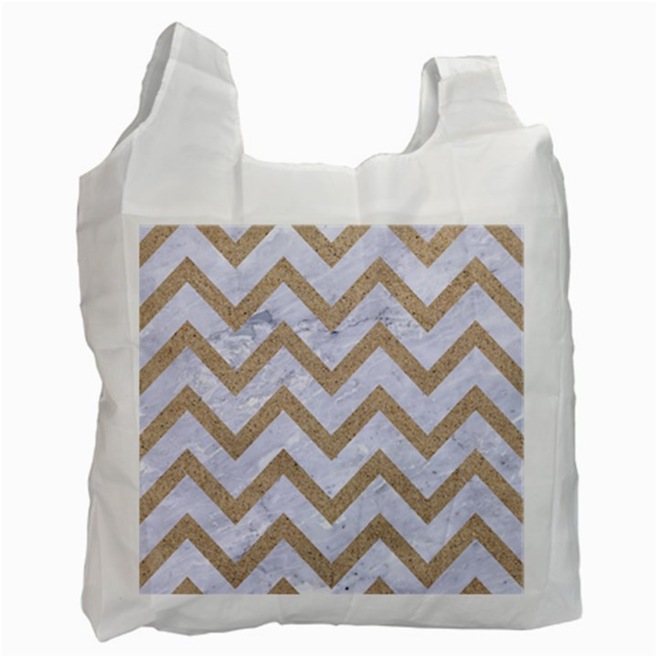 CHEVRON9 WHITE MARBLE & SAND (R) Recycle Bag (Two Side)