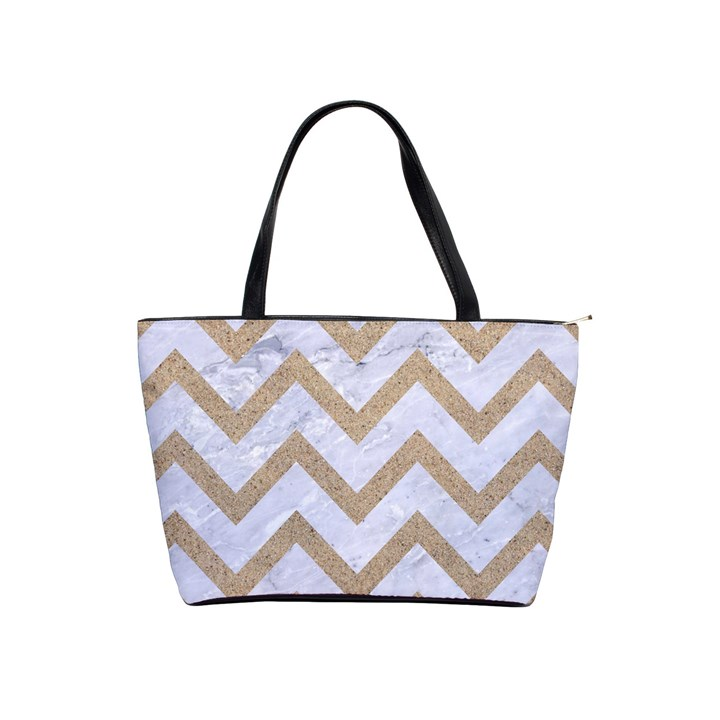 CHEVRON9 WHITE MARBLE & SAND (R) Shoulder Handbags