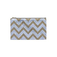 Chevron9 White Marble & Sand (r) Cosmetic Bag (small)