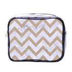 CHEVRON9 WHITE MARBLE & SAND (R) Mini Toiletries Bags Front