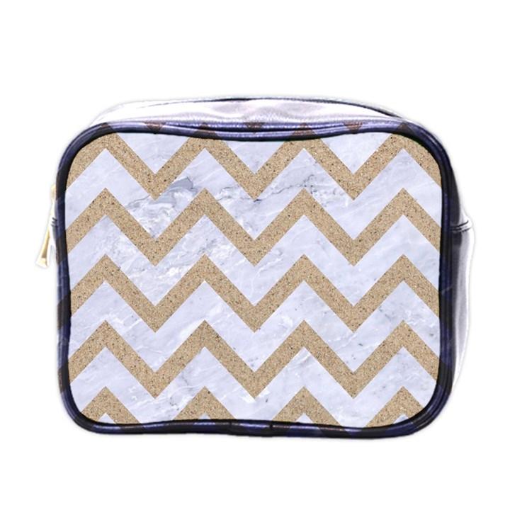 CHEVRON9 WHITE MARBLE & SAND (R) Mini Toiletries Bags