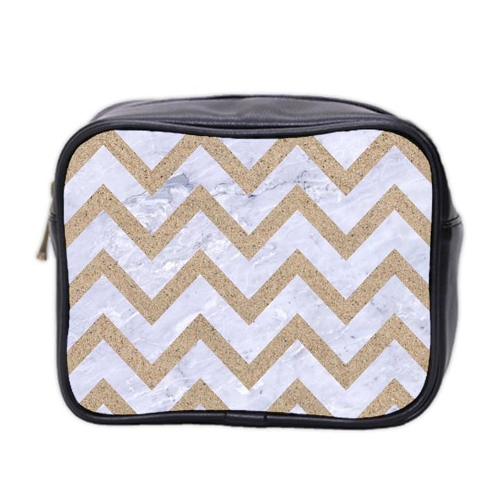 CHEVRON9 WHITE MARBLE & SAND (R) Mini Toiletries Bag 2-Side