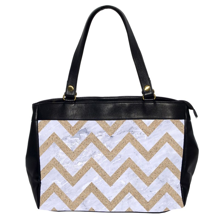 CHEVRON9 WHITE MARBLE & SAND (R) Office Handbags (2 Sides)