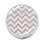 CHEVRON9 WHITE MARBLE & SAND (R) 4-Port USB Hub (One Side) Front