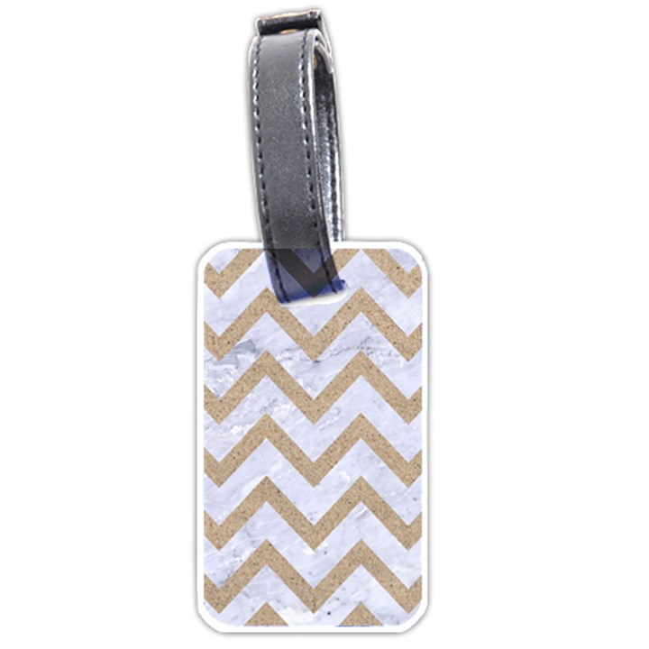 CHEVRON9 WHITE MARBLE & SAND (R) Luggage Tags (One Side)
