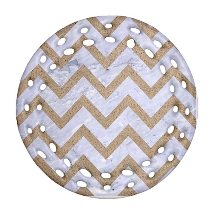 CHEVRON9 WHITE MARBLE & SAND (R) Ornament (Round Filigree)