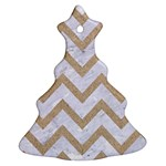 CHEVRON9 WHITE MARBLE & SAND (R) Christmas Tree Ornament (Two Sides) Back