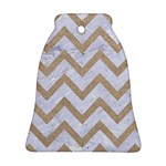 CHEVRON9 WHITE MARBLE & SAND (R) Bell Ornament (Two Sides) Front